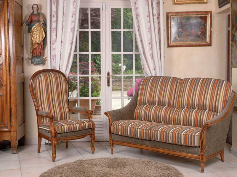 Canap s et fauteuils 38 saint marcellin par les meubles bodin b niste meub - Salon rustique cuir et bois ...